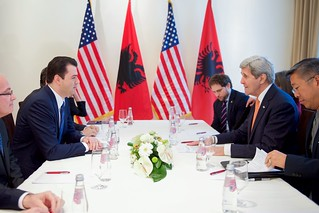 Secretary Kerry Sits With Albanian Opposition Party Leader Lulzim Basha