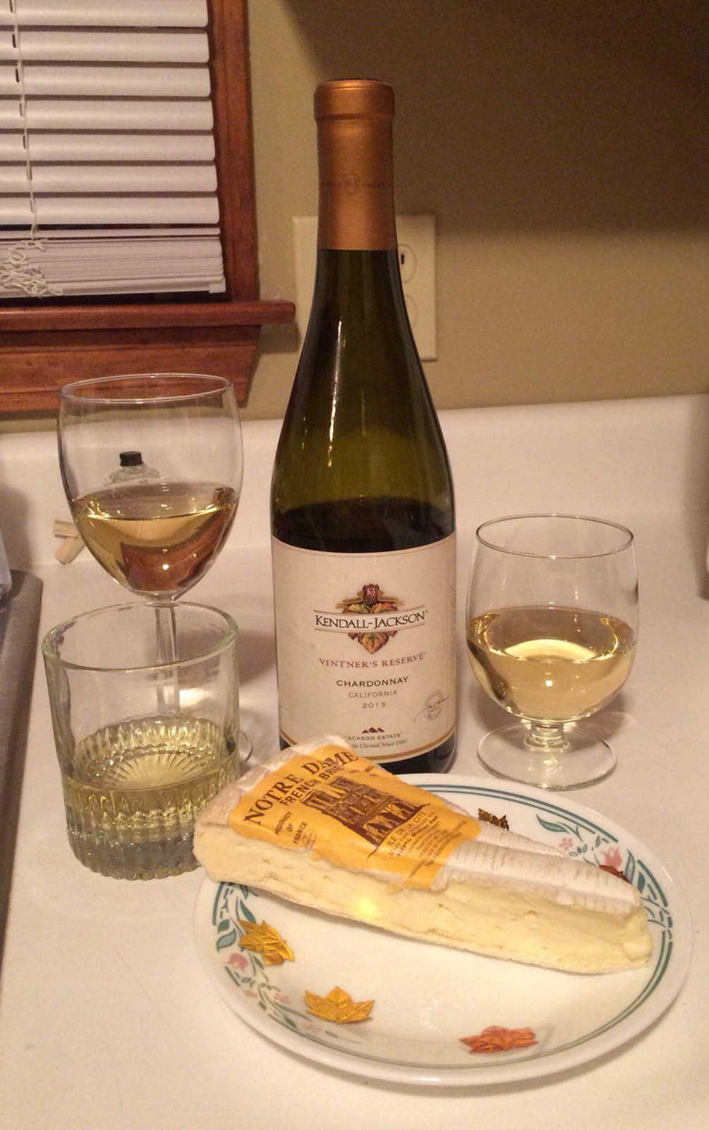Kendall Jackson Chardonnay and Notre Dame French Brie 1