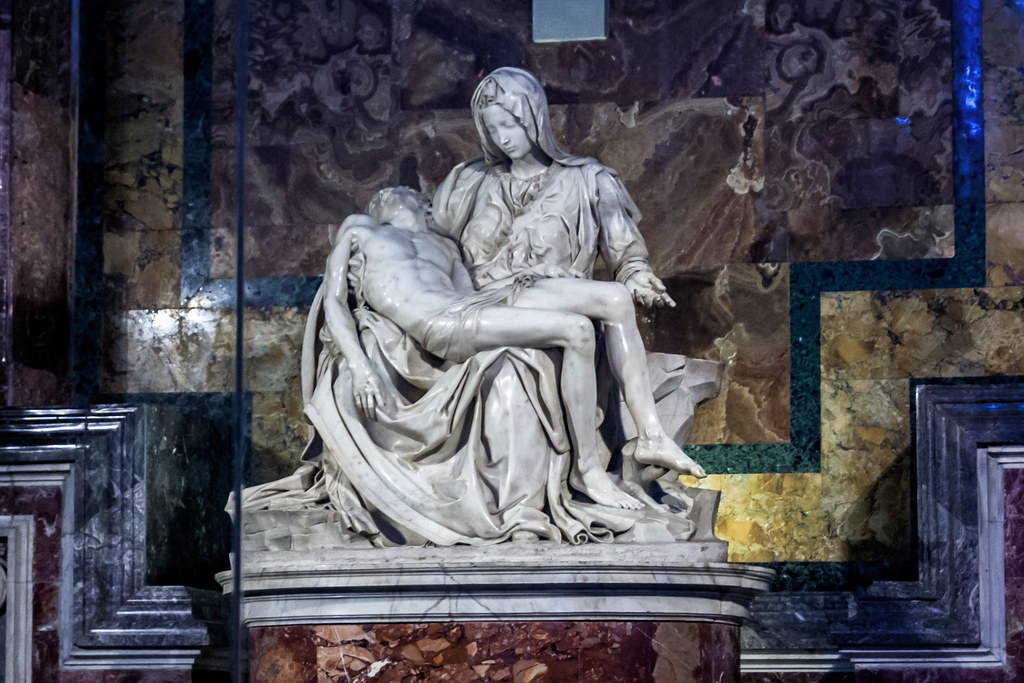 The Pietà is a subject in Christian art depicting the Virgin Mary cradling the dead body of Jesus.