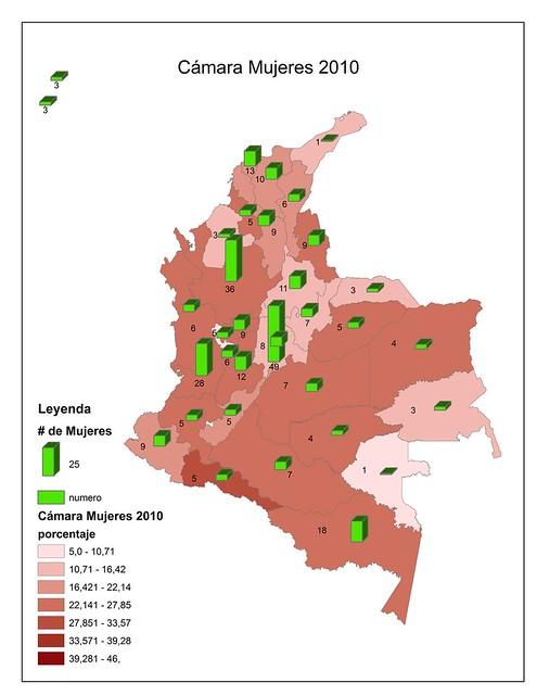 Número de candidatas a la Cámara por circunscripción electoral 2010