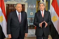 U.S. Secretary of State John Kerry and Egyptian Foreign Minister Sameh Shoukry address reporters before their bilateral meeting in Washington, D.C., on February 9, 2016. [State Department photo/ Public Domain]