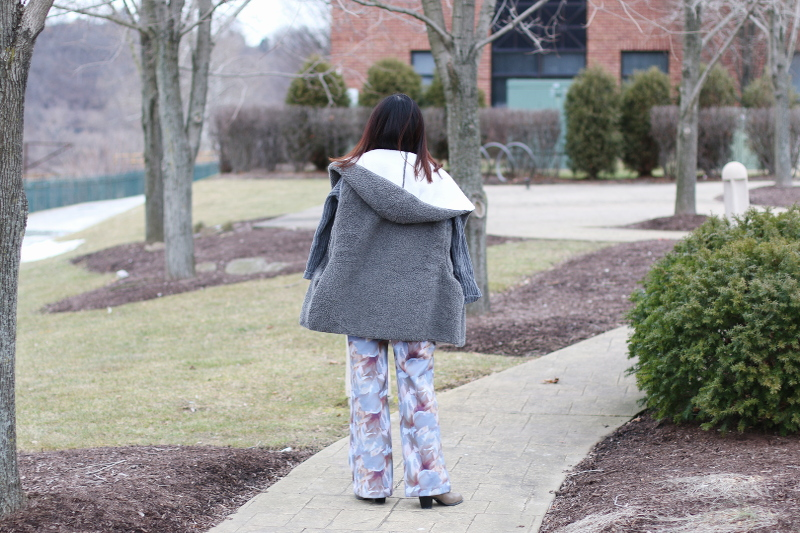serenity blue, floral wide leg pants, shein coat