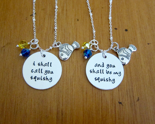 Nemo inspired friendship necklaces. I shall call you squishy! Set of 2. Hand stamped. Best friend necklace. Ocean necklace.