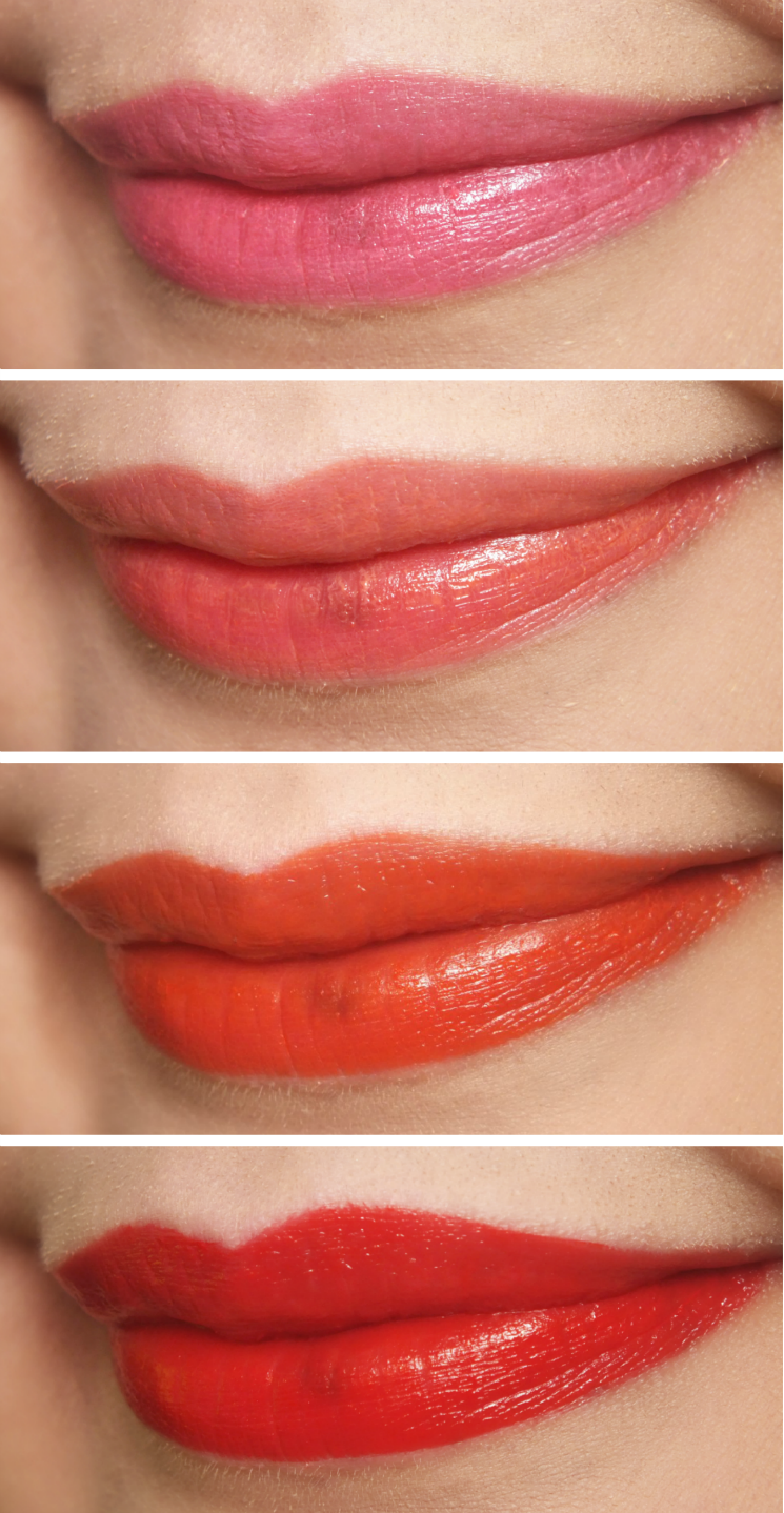 THEFACESHOP Ink Lipquid Shah Pink, Coral Chu, Orange Some and Red Sing (1)