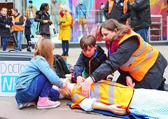 Norwich Junior Doctors showing CPR outside on The Haymarket Norwich A3
