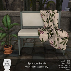 [Park Place] Sycamore Bench with Plant Accessory