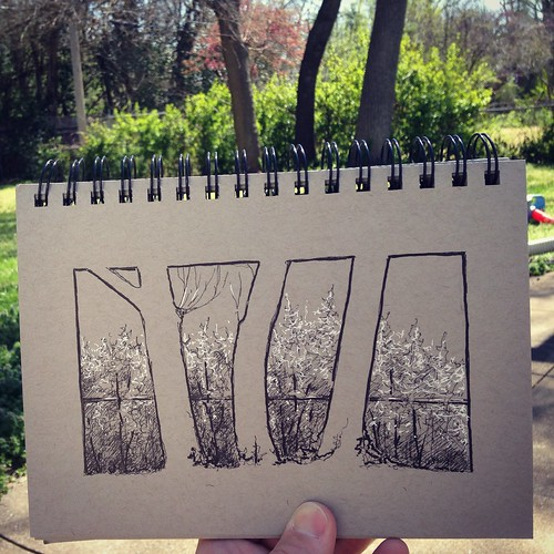 Backyard sketching.