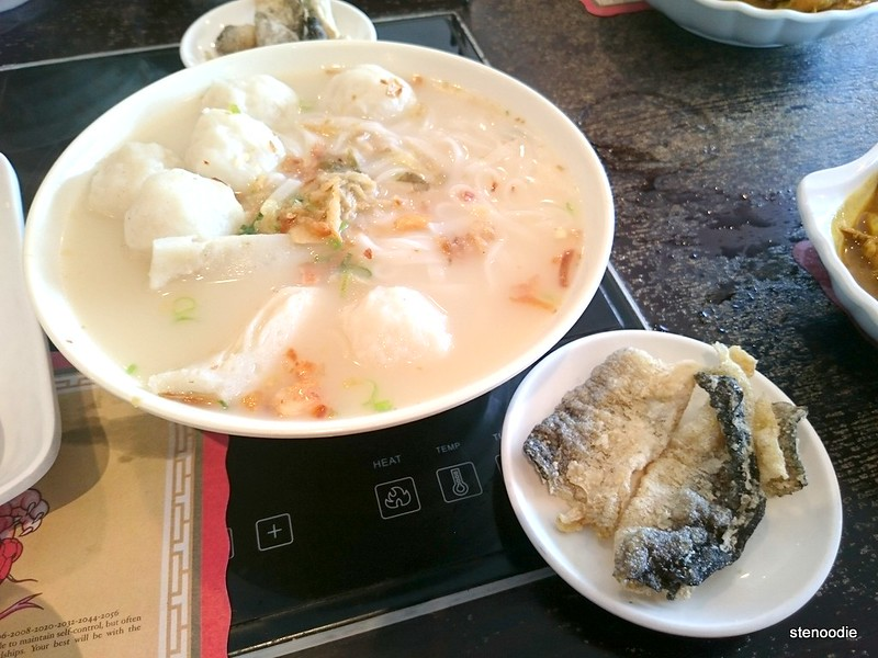 Fish Ball Rice Noodle Soup with Fried Fish Skin
