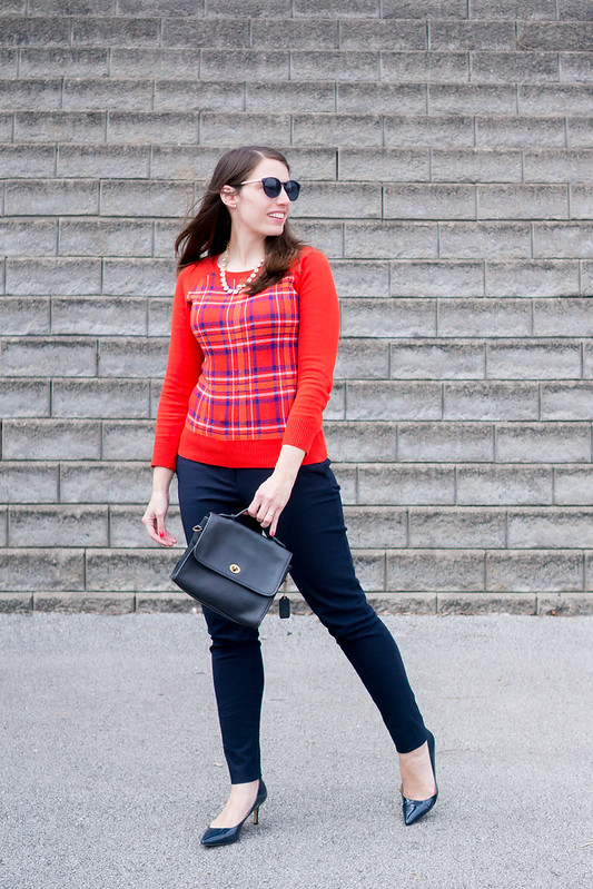 red plaid sweater + J.Crew Factory crystal necklace + navy work pants + navy heels | Style On Target