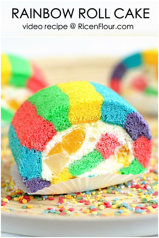 Rainbow Roll Cake How to make Rainbow ro...