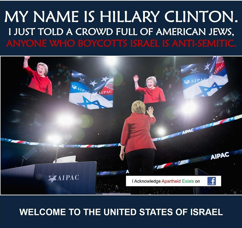Hillary says critic israel is antisemetic aipac