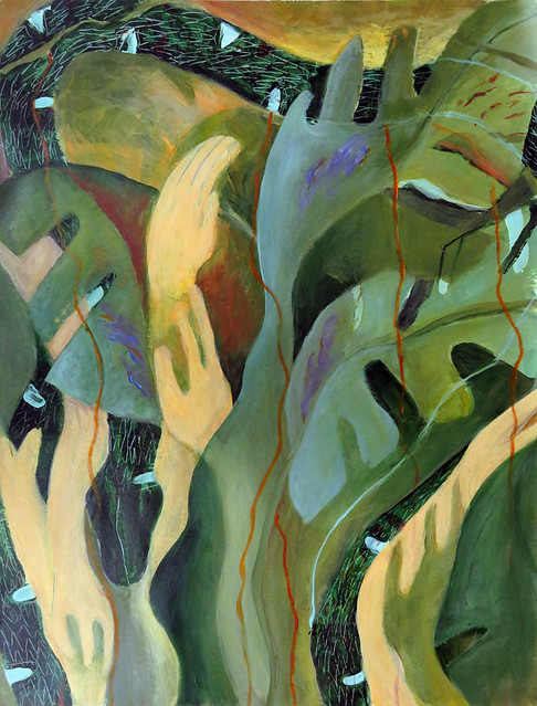 Painting of a snake in a philodendron