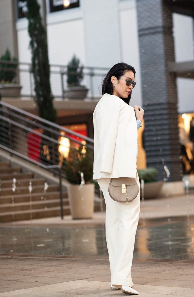 cute & little blog | petite fashion | white coat, white devin trousers, chloe drew small bag | outfit