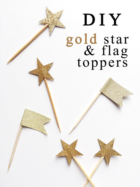 DIY Gold Star and Flag Toppers