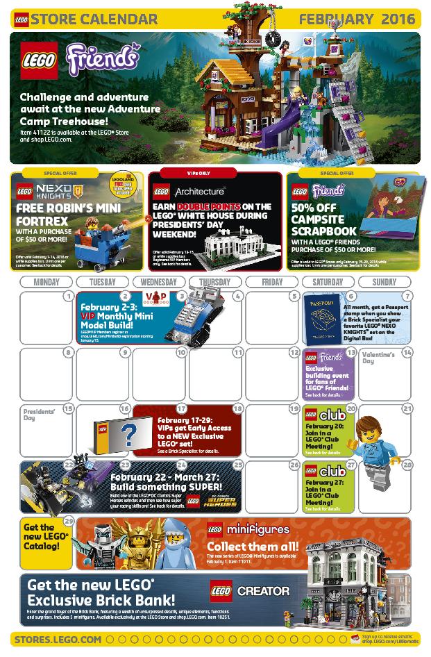 LEGO Shop February 2016 Calendar