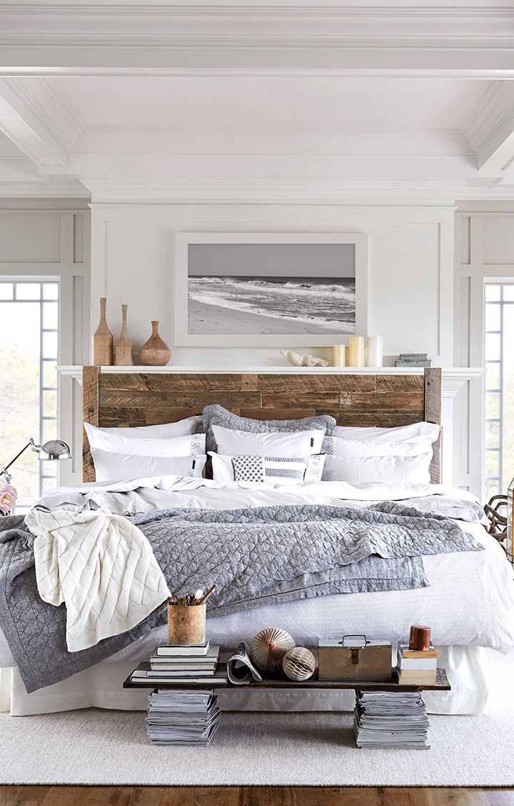 Beach Chic Coastal Decor Bedroom Wood Bedframe Cozy Winter Bedding
