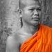 Visages du Cambodge- Moine en visite à Angkor Wat