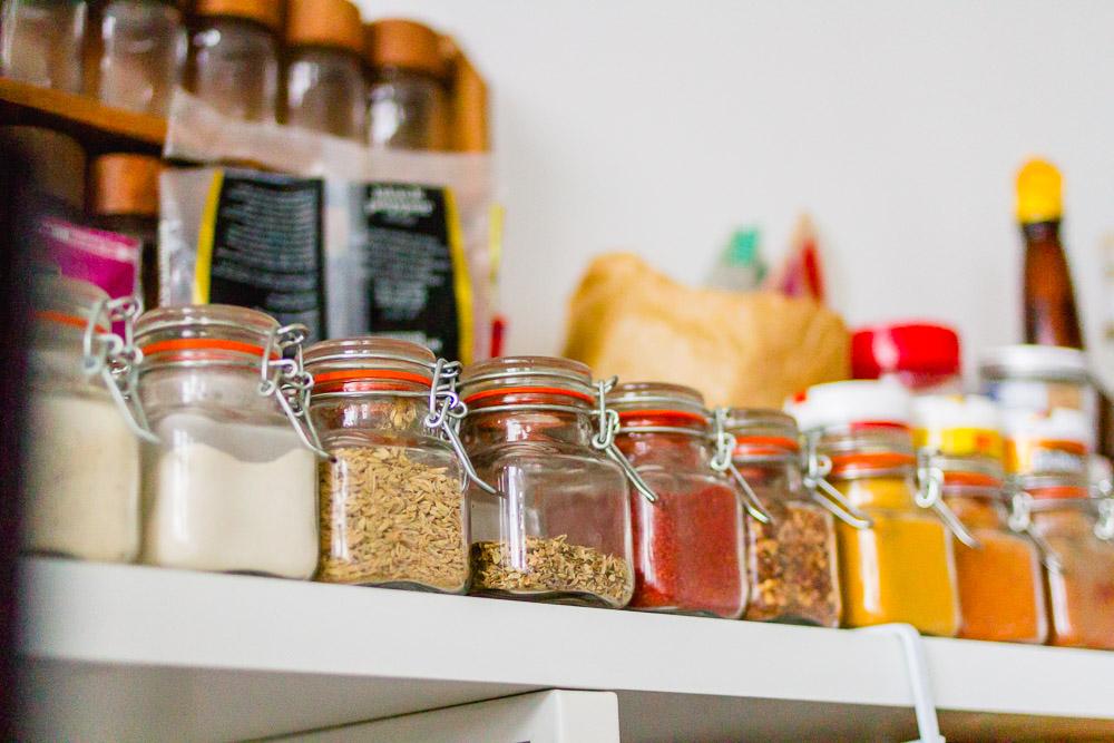 cute mini kilner jars for spices on a shelf