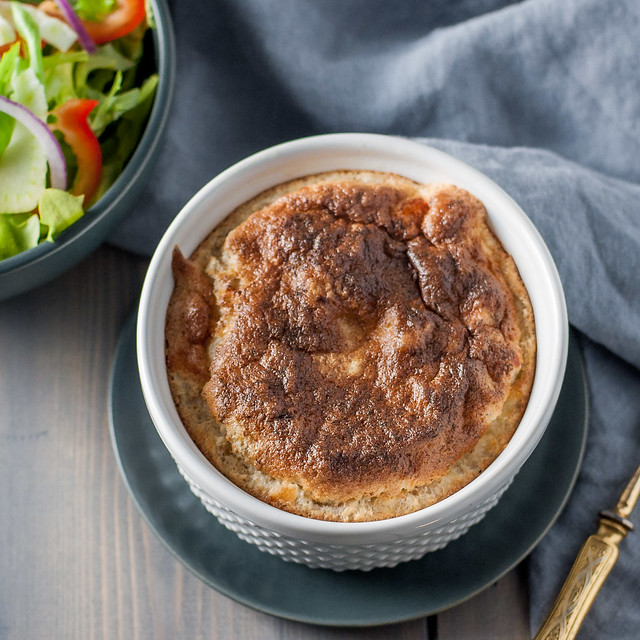 Easy-to-make individual black pepper Gruyere soufflé
