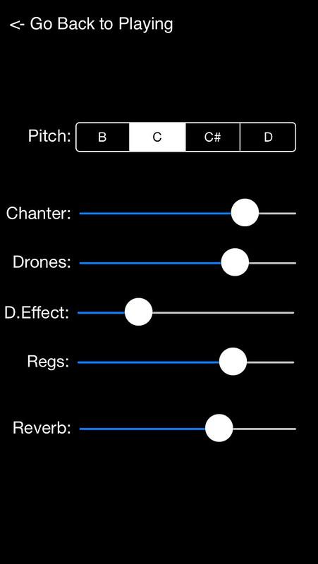 Uilleann Keys iPhone Settings