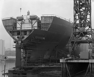 The stern of 'Naess Crusader' nears completion