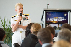 Vice Adm. Nora Tyson, commander of U.S. 3rd Fleet, speaks at a Royal New Zealand Air Force  Women's Development Forum during her visit to New Zealand. (New Zealand Defence Force photo)
