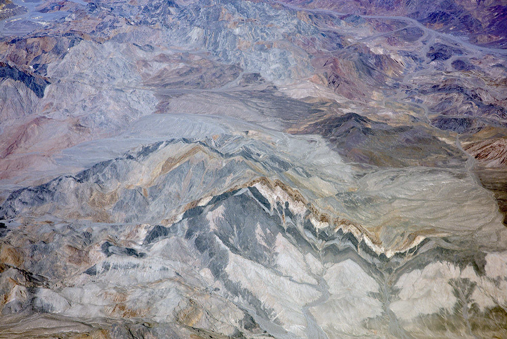 Aerial view of Schwaub Peak and colorful strata, Death Valley National Park, California