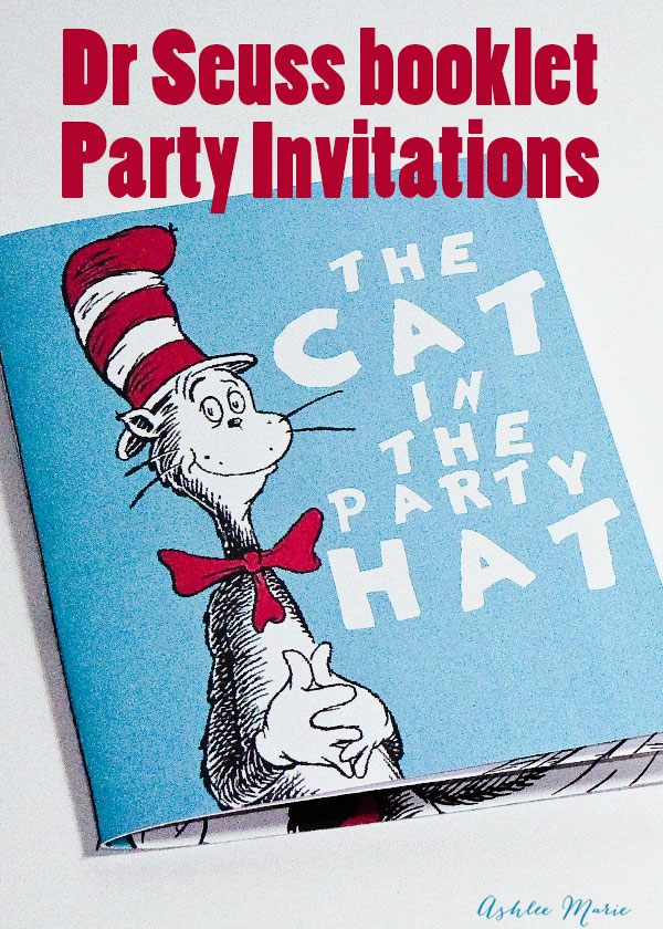 Dr Seuss birthday party book invitation- I\'m Topsy Turvy