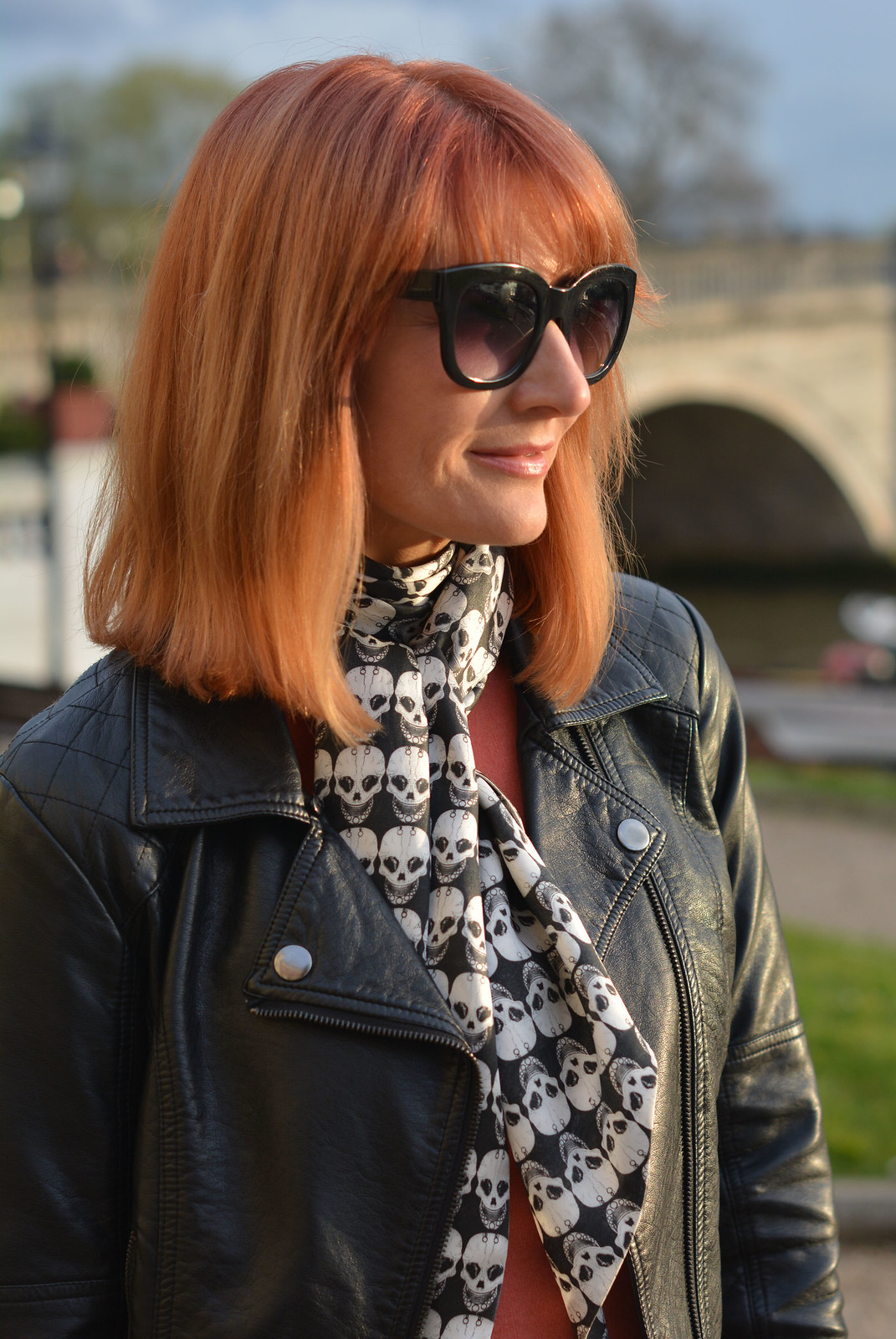Biker jacket, skull scarf, coral sweater | Not Dressed As Lamb