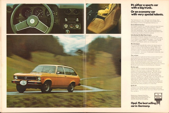 1974 Opel Advertisement Motor Trend April 1974