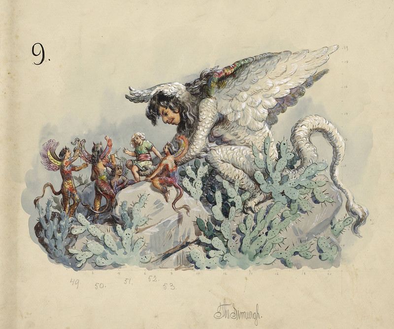 Carlotta Bonnecaze - The Simurgh, float design from Krewe of Proteus Parade, 1894