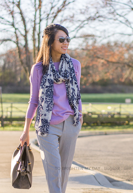 floral printed scarf, light purple sweater, gray pants