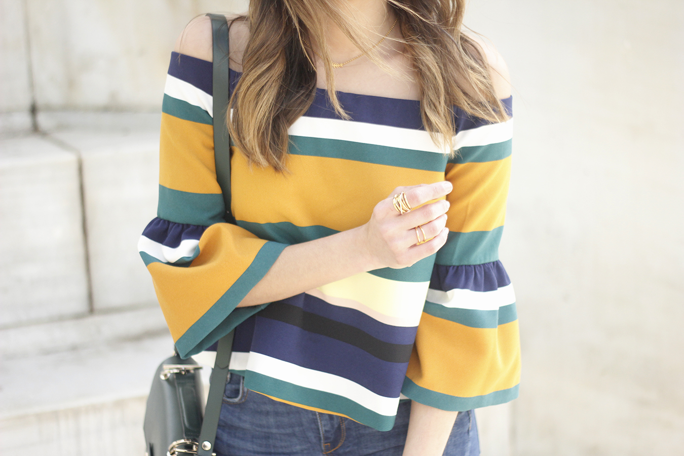 Off The Shoulder Top with stripes jeans heels accessories bag aristocrazy08