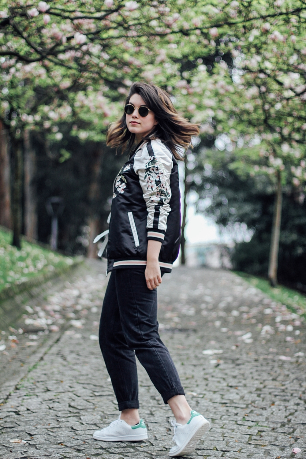 Reversible bomber jacket with embroidery detail streetstyle how to wear