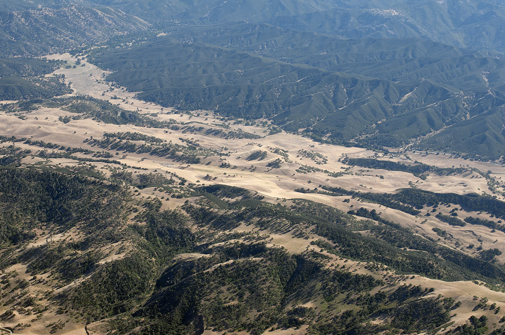 Aerial view of the San Andreas Fault and Pinnacles National Park, San Benito County, California