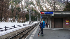 Albert na peronie stacji Morteratsch