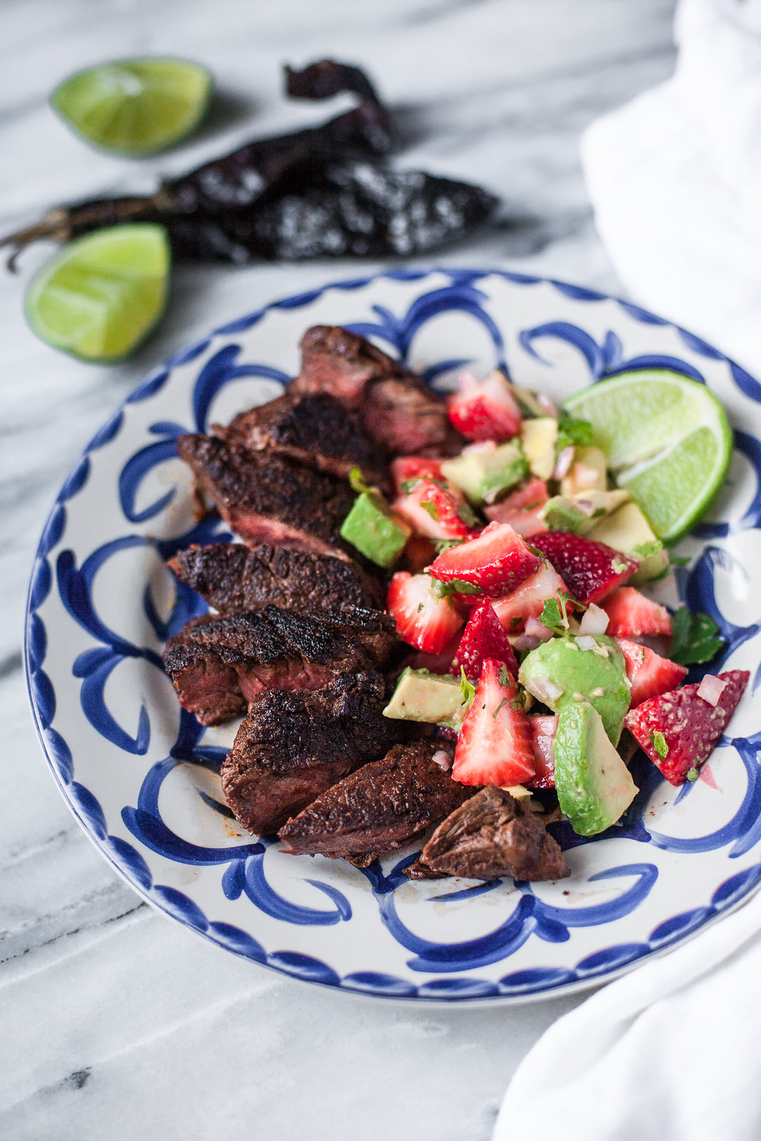 Mole-Spiced Hanger Steak with Strawberry-Avocado Salsa