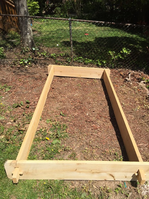 Raised cedar garden bed