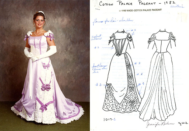 A Waco Cotton Palace dress in design and execution, 1982