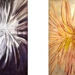 Dahlien 1 (links) 60x80 cm, Dahlien 2 (rechts) 60x80 cm, Mischtechnik-Ei-Tempera/Pastellkreide