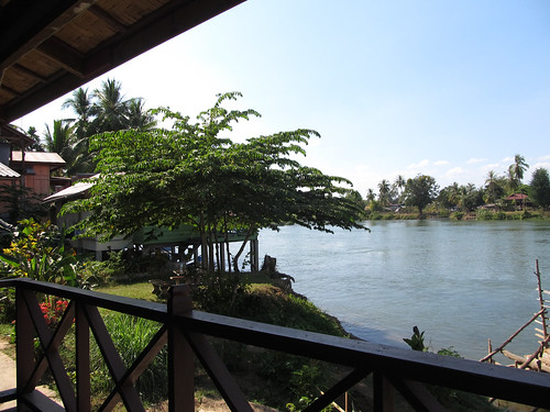 Les 4000 îles: notre guesthouse à Don khone avec vue sur le Mékong