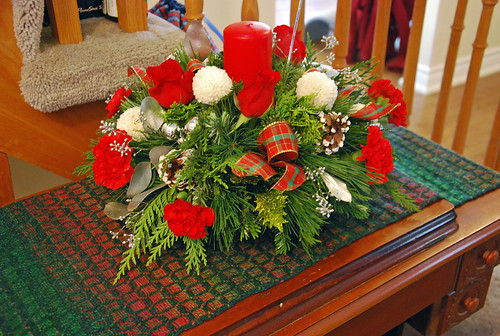 Christmas arrangement on handspun woven runner by irieknit