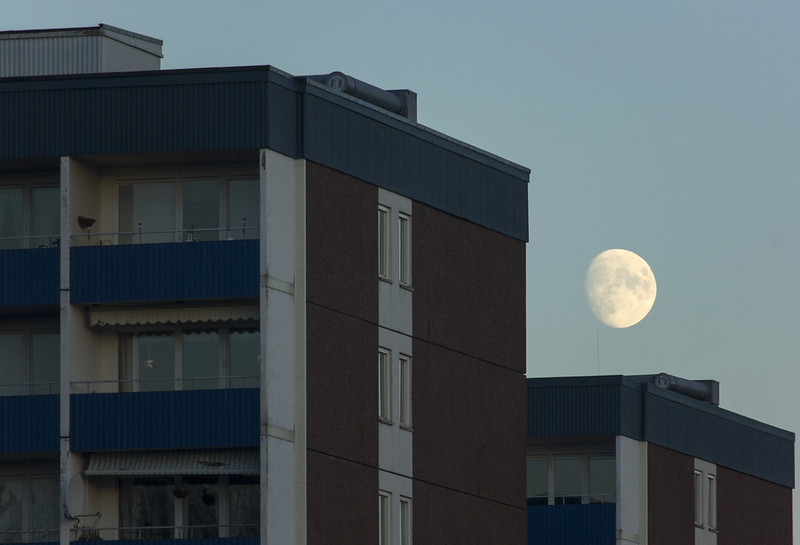 Moon over Tower Blocks