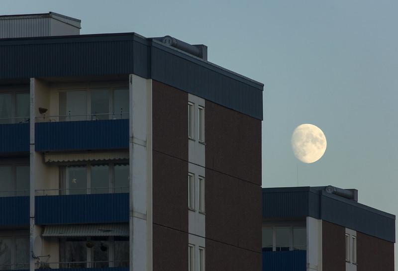 Moon over Tower Blocks