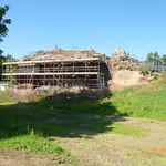 Holt Castle during consolidation work, view from north-west, July 2013