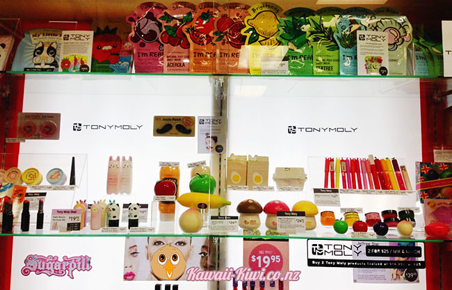 The full range of TonyMoly products at Cosmic in Wellington