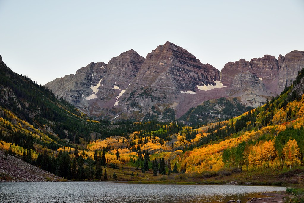 Maroon Bells and Maroon Lake in the Early Morning Hours