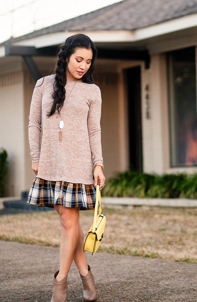 cute & little blog | petite fashion | plaid flounce dress, taupe ankle boots, yellow rider crossbody, side pull-through braid, kendra scott rayne pendant neckace | outfit