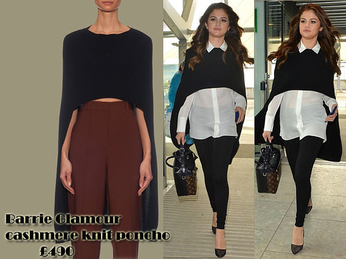 Barrie Glamour cashmere knit poncho with white long sleeved shirt & skinny jeans: Stylish flyer