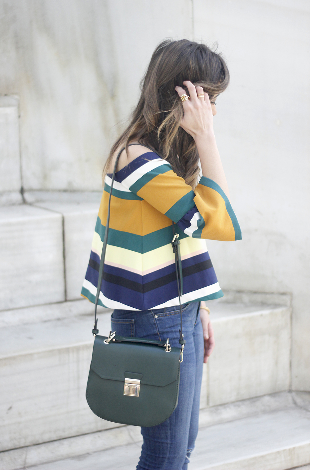 Off The Shoulder Top with stripes jeans heels accessories bag aristocrazy05